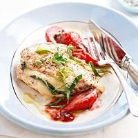 Parmesan-Stuffed Chicken and Melted Strawberries - even Rob (the non-chicken eater) said this sounds good.