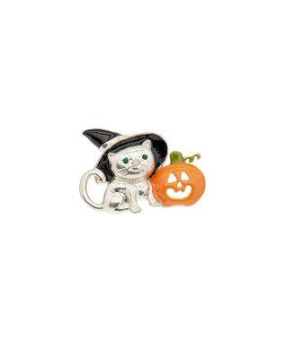 Black & Orange Witchy Cat & Pumpkin Brooch