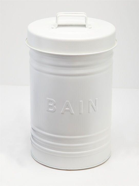 Avec son inscription reliéfée 'BAIN' et sa matière métal, cette poubelle fait partie de la déco de salle de bain. Détails Couvercle avec poignée. Haut
