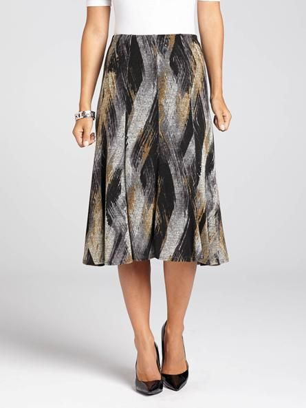 "Laura Petites: for women 5' 4"" and under. Because great style doesn't have to mean sacrificing comfort, this swirl printed skirt will quickly become a favourite in your wardrobe. Not only does it feature a gorgeous print, but its flattering...4030334-0173"