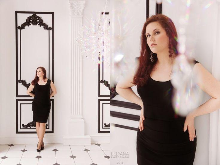 Lelyana Markina Photoghry White Studio Black and White Famous Studios Plus Size Model Curve Black Dress Crystal Daylight Red-haired