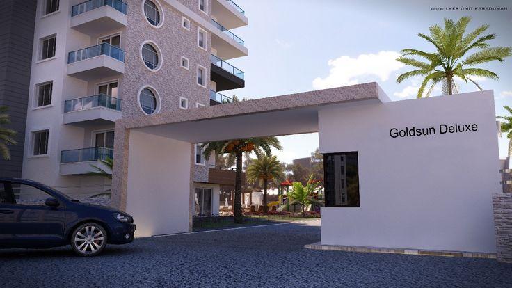 Современный и яркий архитектурный проект ГОЛД САН ДЕ-ЛЮКС. Комплекс расположен в пригороде Алании, Махмутлар. На площади 4.390 м2 в живописном месте, в 500 м доморя.  Комплекс состоит из 2х блоков и большой прилегающей территории.