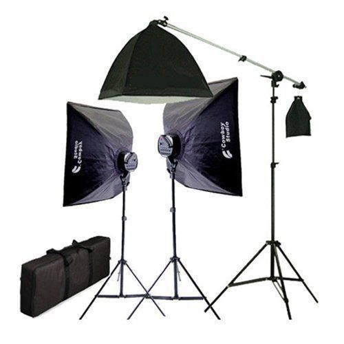 CowboyStudio 2275 Watt Digital Video Continuous Softbox Lighting Kit with Boom #CowboyStudio