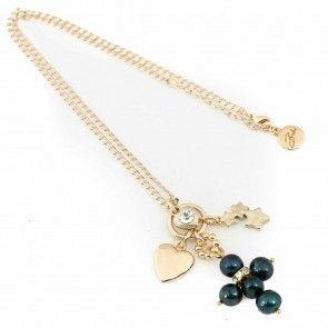 Bibi Bijoux Black pearl cross necklace