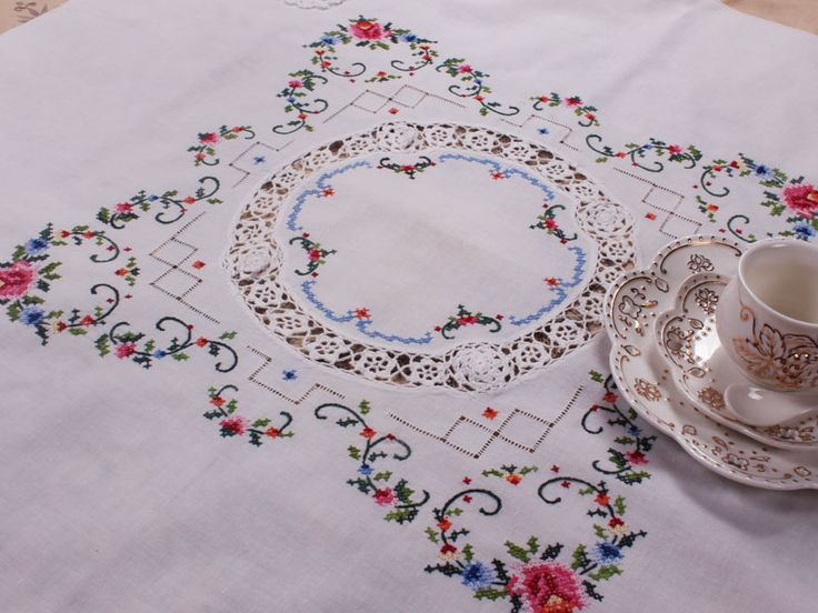 Cotton cross stitch embroidery table topper - Click Image to Close