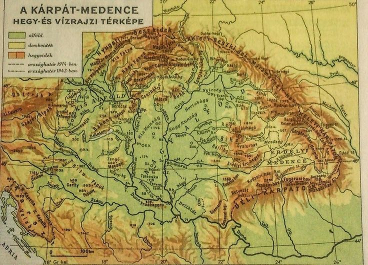 Népatlasz 1943 Kogutowicz Károly A Kárpát medence hegy-és vízrajzi térképe