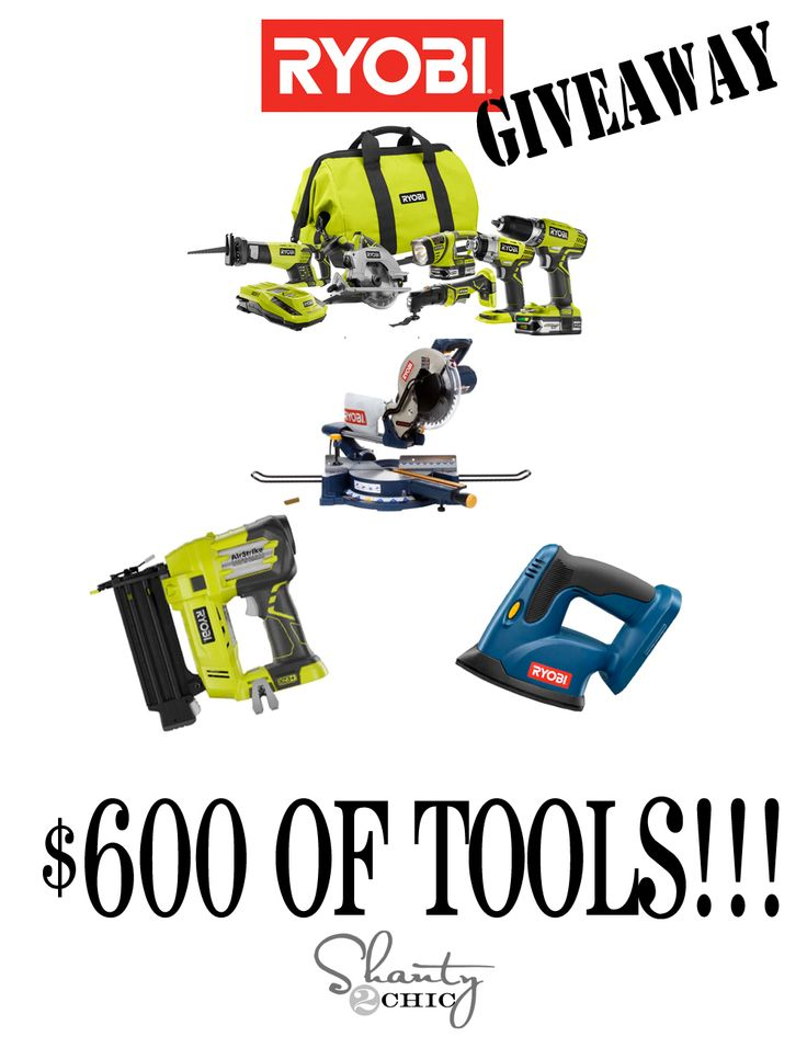 $600 Ryobi Power Tools Giveaway at www.Shanty-2-Chic.com!