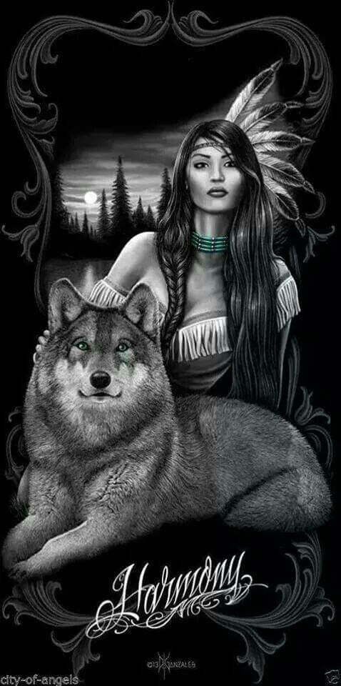 Indian maiden and wolf guide