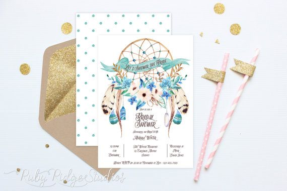 Printable Bridal Shower Invitation, Bohemian Watercolor Floral Blue Dreamcatcher, Hens Party, Kitchen Tea, DIY Printable Invitations