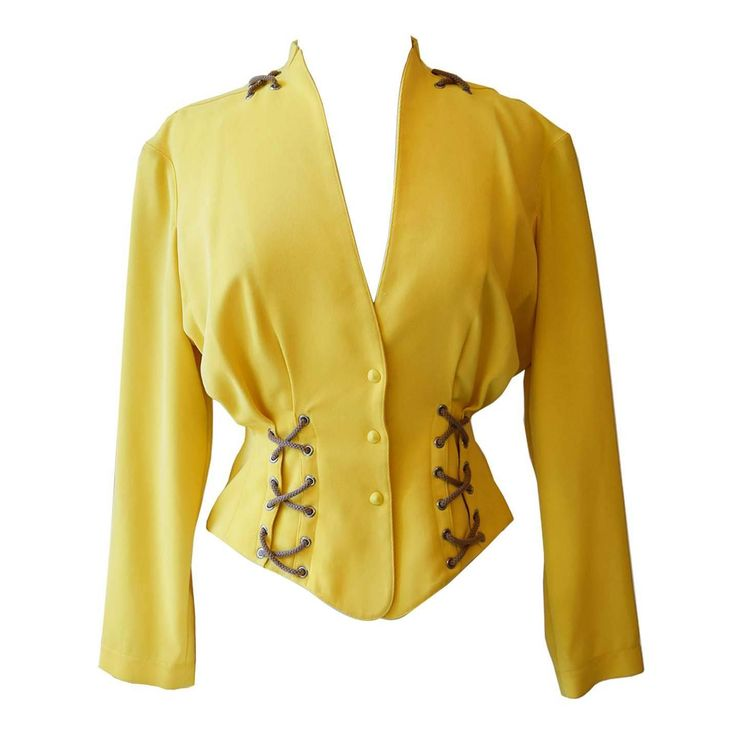 Thierry Mugler vintage iconic canary yellow fitted rope jacket size S | From a collection of rare vintage jackets at https://www.1stdibs.com/fashion/clothing/jackets/