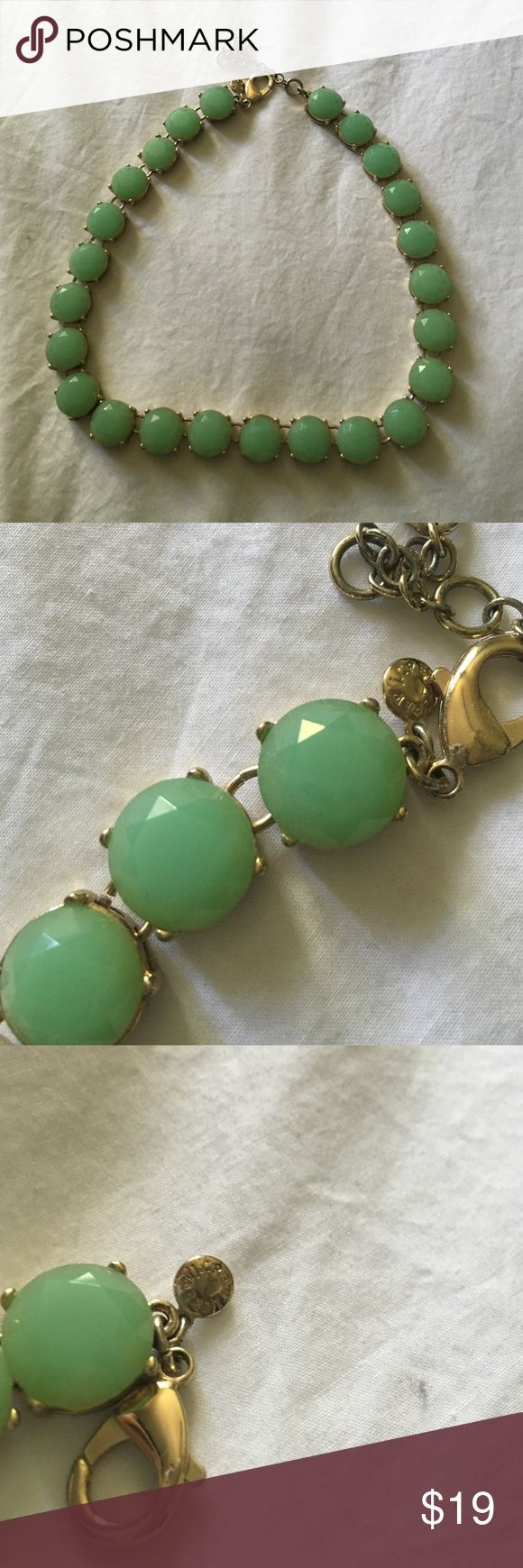 J Crew sea foam green/teal necklace J Crew. Good condition. Not missing any stones! J. Crew Jewelry Necklaces