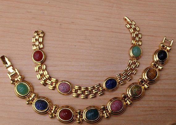 Egyptian Scarab Bracelet Lot Bracelets Goldtone Nice Quality