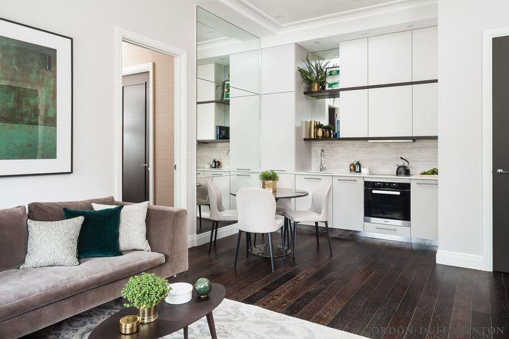 Kitchen with bespoke cabinets, limestone splashback and Miele appliances. #GD&LBespokeFurniture