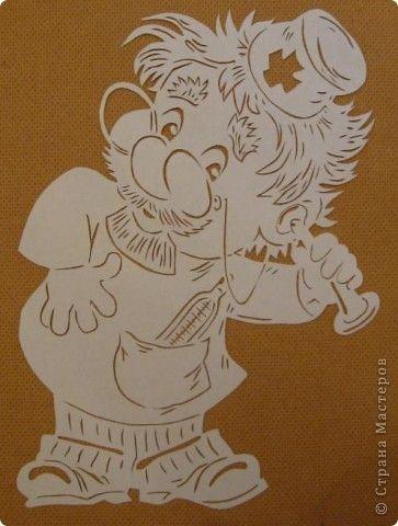 Картина панно рисунок Вырезание Добрый доктор Айболит Бумага фото 1:
