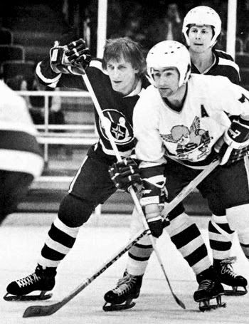Paul Shmyr of Cleveland and Wayne Connelly of Minnesota battle in a 1974 WHA game