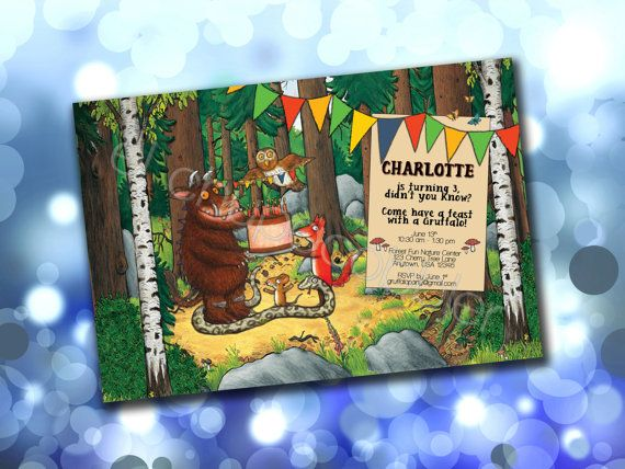 Gruffalo Birthday Party Invitation Digital File by elchupacobbler