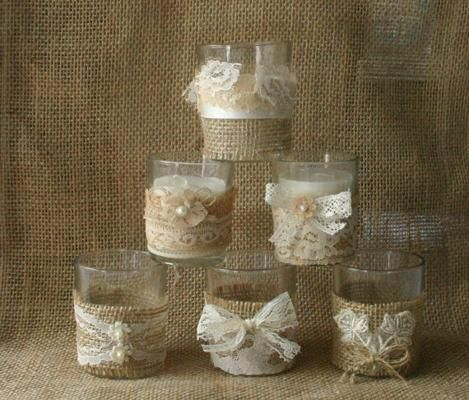 Burlap and lace wedding votives