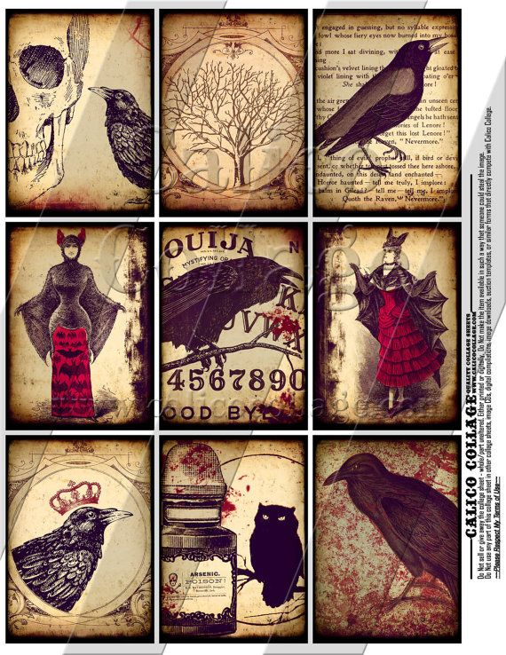 NEW Gothic 2  Digital Collage Sheet  25x35 ACEO by calicocollage, $3.75
