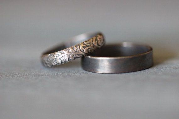 SOPHIE : anneaux de mariage, ensemble, des bandes de mariage, argent Sterling, botanique, feuilles, vignes, son et Sienne, rustique, Bohème, fabriqué sur commande