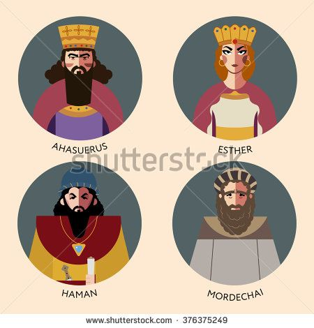 Flat vector set, bible icons characters for Jewish Religion Holiday Purim, puppets with costumes, traditional symbols, Haman, Mordechai, Queen Esther and Persian King Ahasuerus, The scroll of Esther - stock vector