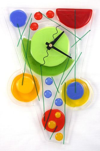 Glass art clock from Sheri (in coordinating colors for Claire's room)