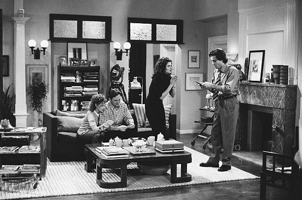 Ellen (Leigh Allyn Baker), Rob Eric (Tom Gallop), Debra Messing (Grace Adler), Will Truman (Eric McCormack)   ~ Will & Grace (1998) ~ Episode Stills ~ Season 1, Episode 1: Pilot #amusementphile