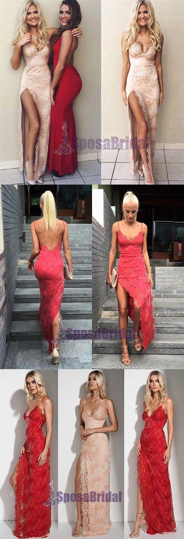 Charming Lace Sexy Spaghetti Straps Mermaid Side Slit Prom Dress, Evening Dress, PD0442