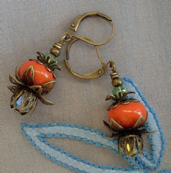 Coral colour lampwork glass bead earrings, handmade by me, Nikki OBrien from Bubbles and Beads, using my own beads