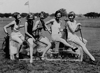 Dorothy Kelly, Virginia Hunter, Elaine Griggs, Hazel Brown, and Mary Ka Minsky cool off on a block of ice in the middle of a golf course.