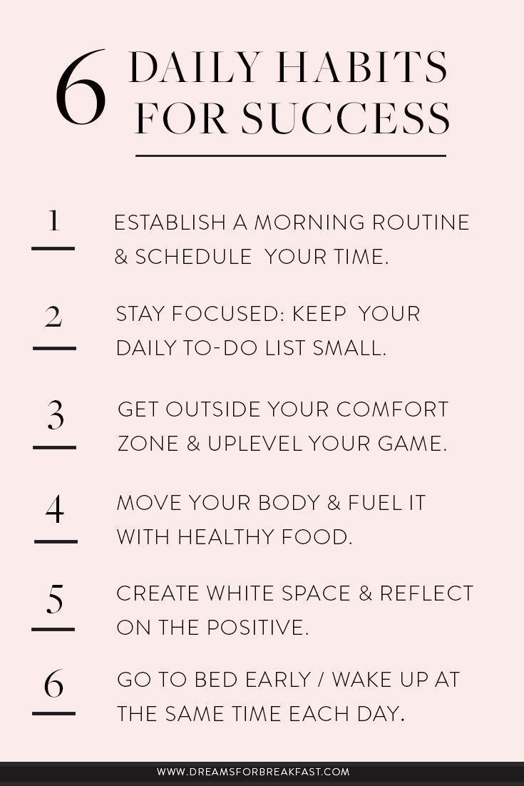 8 Daily Habits for Success   www.dreamsforbreakfast.com   Self ...