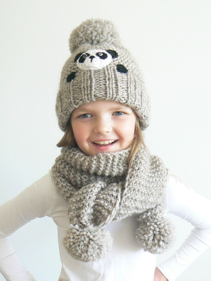 Blue Knit Scarf Knitted Winter Girls Crochet Hat Beanie New Kids Lovely Panda
