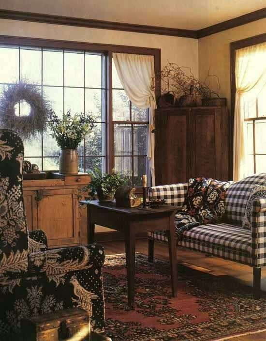 Americana living room dark wood tones pared with gingham notice the twig wreath and Country PrimitivePrimitive