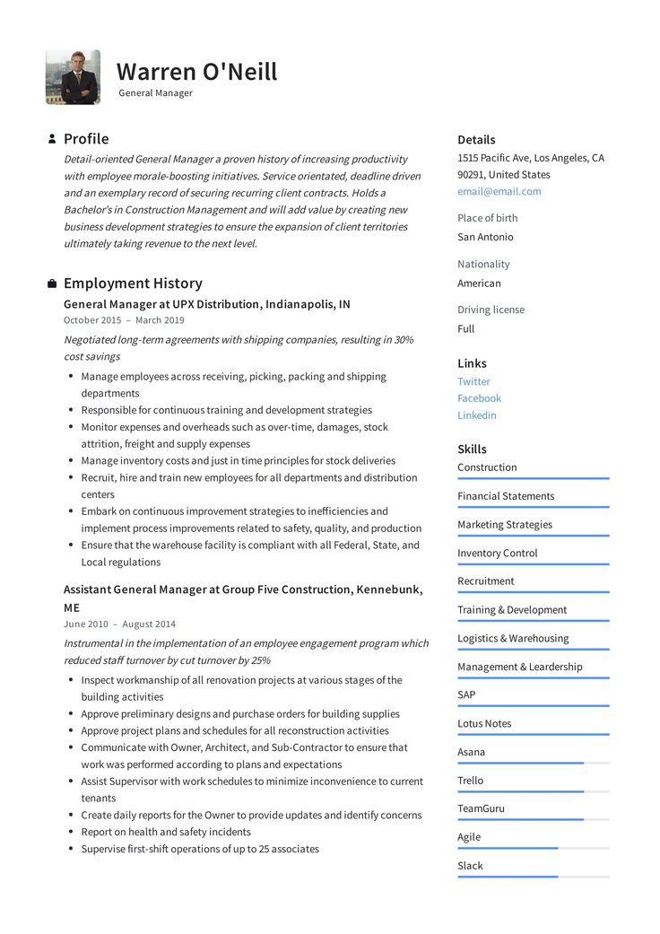 general manager resume template  resume examples manager