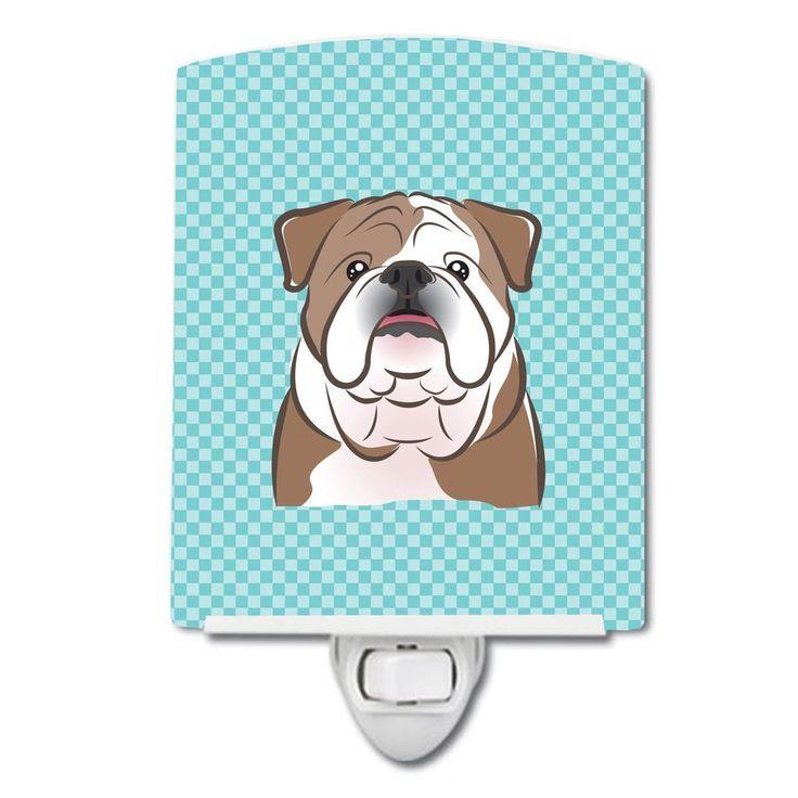 Checkerboard Blue English Bulldog Ceramic Night Light BB1157CNL