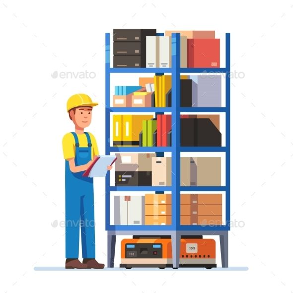 Warehouse worker checking inventory on a metal rack on a robot. Stock taking job. Modern flat style vector illustration isolated o