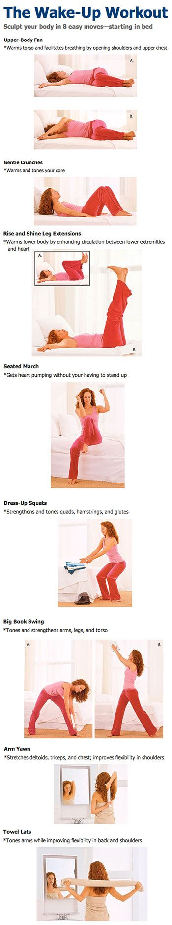 The Wake-Up Workout: Sculpt your body in 8 easy moves—starting in bed..sounds silly but I'm lazy !