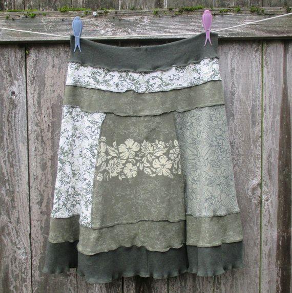 Cotton Recycled Skirt Moss Green T Shirt Skirt Upcycled Plus Size Skirt Versatile ThankfulRose