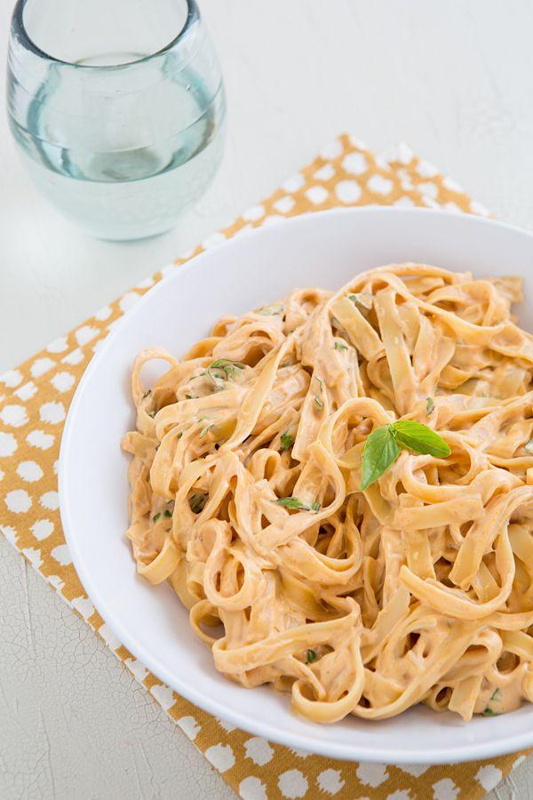 Vegan Sun-Dried Tomato Fettuccine Alfredo