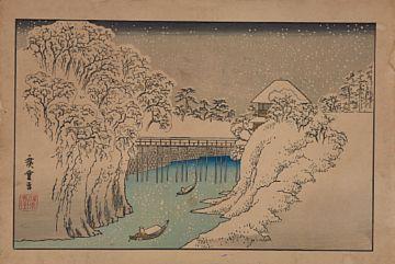 HIROSHIGE 1STE (ANDO) JAPANSK 1797 - 1858  Snølandskap Japansk fargetresnitt, Ukiyo-e. 26x38,5 cm Signert og datostemplet Trykket på 1900-tallet