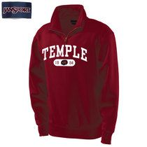 Temple University Jansport Quarter Zip Pullover. Great to put on for busy mornings Temple college wear busy mornings quick outfit mens wear winter clothes cherry red white outfit