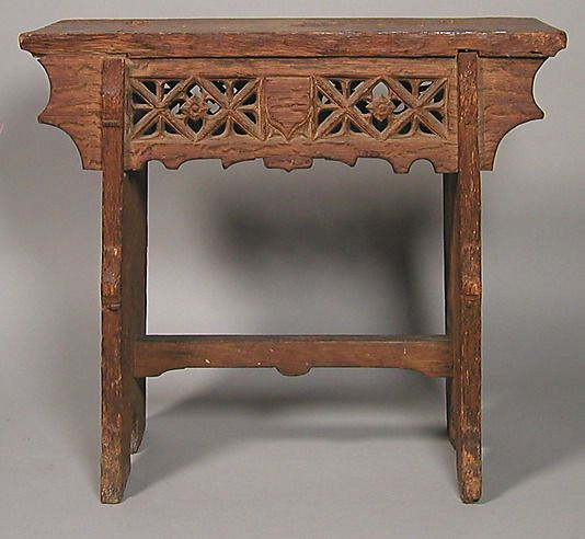 Stool Date: Century Culture: French Or South Netherlandish Medium: Oak  Dimensions: Overall: 21 X 23 X 10 In. X X 26 Cm)