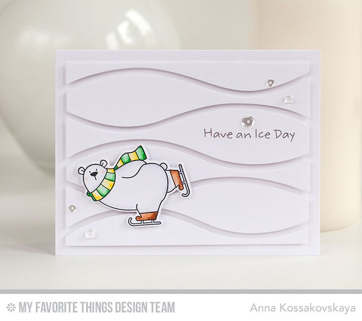 Polar Bear Pals Stamp Set and Die-namics, Horizontal Snow Drifts Cover-Up Die-namics - Anna Kossakovskaya  #mftstamps