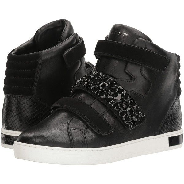 MICHAEL Michael Kors Randi High Top (Black) Women's Shoes (2,450 MXN) ❤ liked on Polyvore featuring shoes, sneakers, black, black high top sneakers, black shoes, black trainers, black velcro shoes and black high top shoes