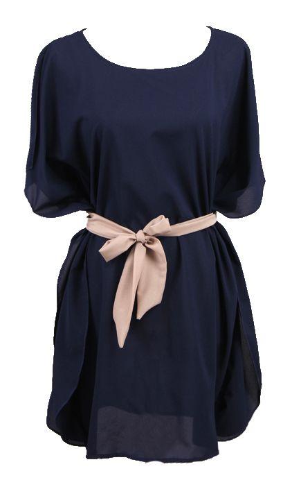 Navy Batwing Sleeve Drawstring Waist Silk Dress