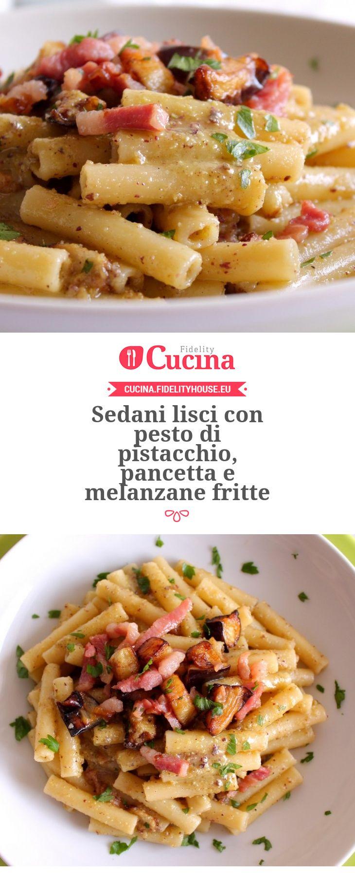 Sedani lisci con pesto di pistacchio, pancetta e melanzane fritte della nostra utente Giovanna. Unisciti alla nostra Community ed invia le tue ricette!