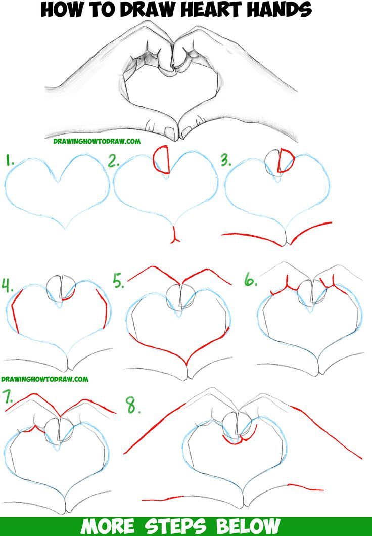 How to draw heart hands in easy to follow step by step drawing tutorial for beginners and intermediates heart hands drawings and tutorials