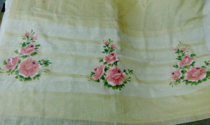 Rose paint on saree