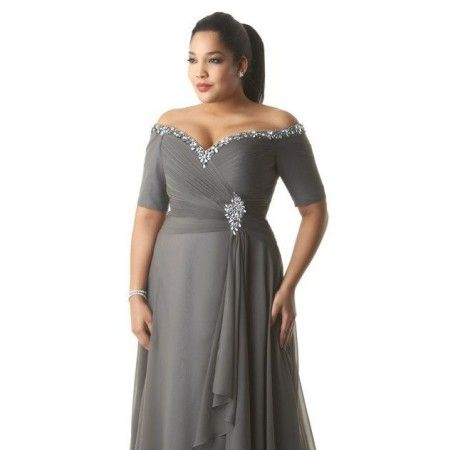 Short sleeve plus size evening dresses can be custom made to order with any design changes. We make platinum silver colored evening dresses for all sizes. You can have this off the shoulder gown made in your exact measurements. We also make #replicas of haute couture dresses for less too.