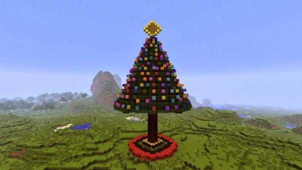 cool things to build in minecraft | christmas tree in minecraft xbox 360 edition