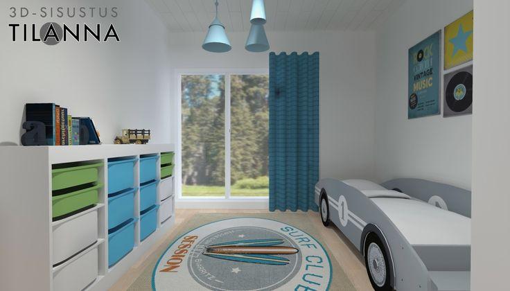 3D- stailaus ennakkomarkkinoinnissa olevaan kohteeseen/ pojan sini-vihreä makuuhuone, valkovahattu tammiparketti, valkoiset maalatut seinät, autonmallinen sänky, ikean trofast säilytyslipasto/ Keski-Suomen Rakennuskeskus, Korteniityntie 15-21/ 3D-sisustus Tilanna,  3D-visualisointia ja sisustussuunnittelua ympäri Suomen